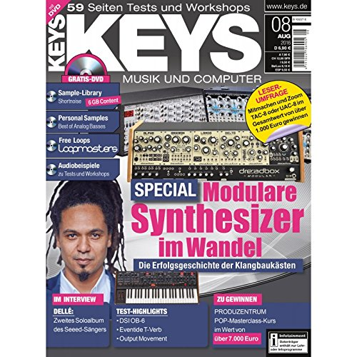 Keys 8 2016 mit DVD - Modulare Synthesizer - Shortnoise Sample Library - Personal Samples - Free Loops - Audiobeispiele