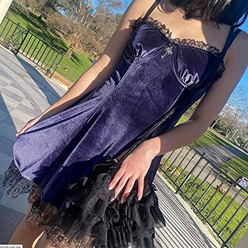 Rüschen Spitze Trim Samt Goth Mall G2 Y -K A-Line Gesteckte Backless Cami Kleid Grunge Punk Kostüm-EIN_S.
