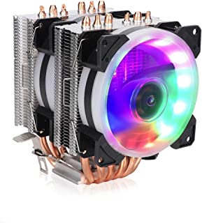 Bewinner 12v 3Pin CPU Cooling Fan, 6 Pipe Heat Cooler Colorful Lights Cooling Fan para AMD, Heat Pipe Adopta un Diseño Escalonado de Doble Hilera,Eficiente Ventilador de Enfriamiendo Silencioso