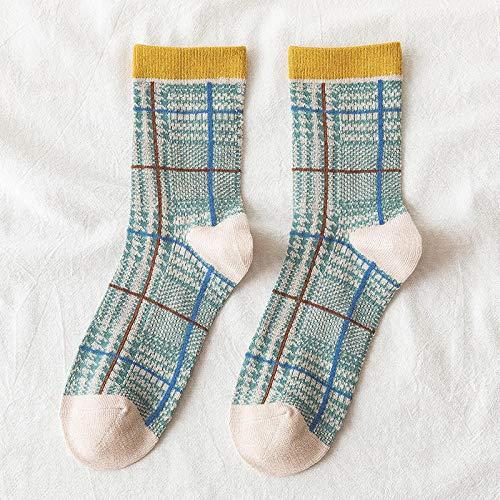 ROUNDER 2 Pares de Calcetines de Tubo para Mujer nuevos de otoño e Invierno, Bordados de algodón, Calcetines pequeños de Encaje Fresco-Tic TAC Toe