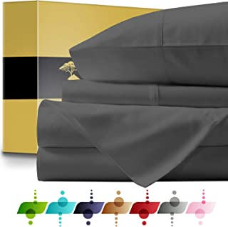 URBANHUT Egyptian Cotton Sheets Set - 1000 Thread Count 100% Cotton King Size Sheet (4 Piece), Luxury Bed Sheets King, Deep Pocket, Soft & Silky Sateen Weave (Elephant Grey)