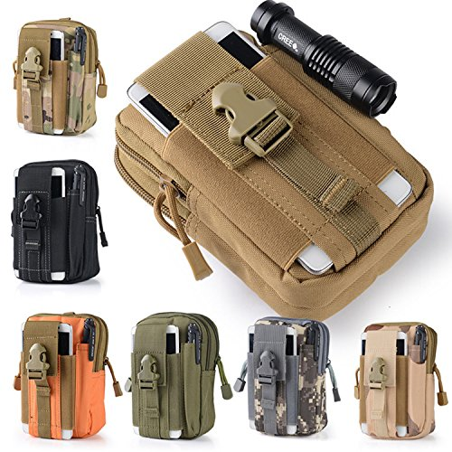 Efanr Universal Outdoor Tactical Holster Military Molle Hip Waist Belt Bag Wallet Pouch Purse Phone Case with Zipper Compatible with Samsung Galaxy S7 S6 LG HTC and More Smartphones (Orange)