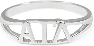Sterling Silver Alpha Gamma Delta Womens Fraternity Ring with Greek cut-out letters
