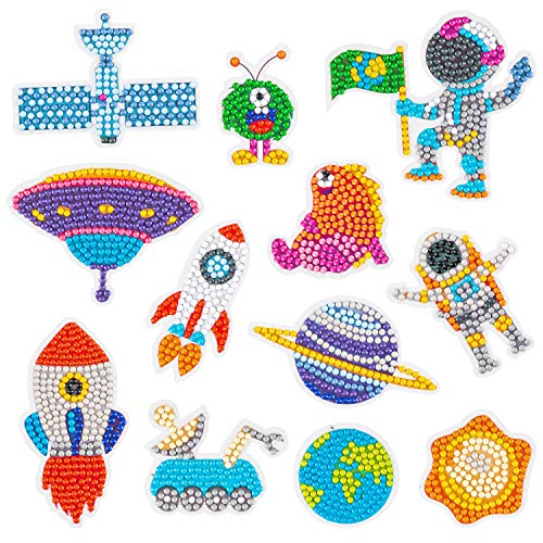 CY2SIDE 12PCS Outer Space 5D Diamond Painting Stickers, Space Easy Diamond Painting Kit for Kids, DIY Full Drill Diamond Painting Kit, Painting by Number for Beginner, Astronaut Mosaic Sticker