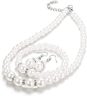Faux Pearl Crystal Choker Necklace Earring Bracelet Jewelry Set for Women Wedding Bridal Jewelry
