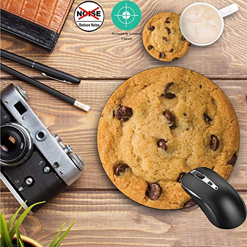 Round Mouse Pad and Coasters Set, Giant Chocolate Chip Cookie Mousepad, Anti Slip Rubber Round Mousepads Desktop Notebook Mouse Mat for Working and Gaming Photo #7