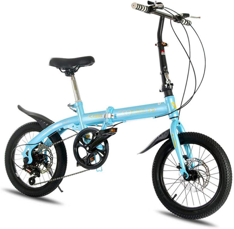 AOHMG Foldable Bike Lightweight Folding Bike, 6Speed Dual Disc Brake City Folding Bike