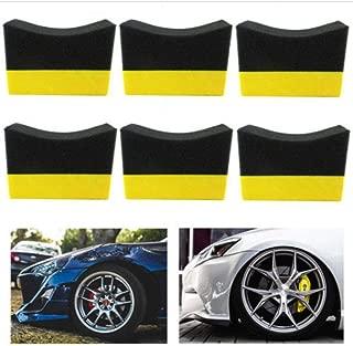 New 6Pcs Vehicle Car Tire Contour Dressing Applicator Pads Gloss Shine Color Polishing Sponge Wax Protectant Wheel Waxing Case
