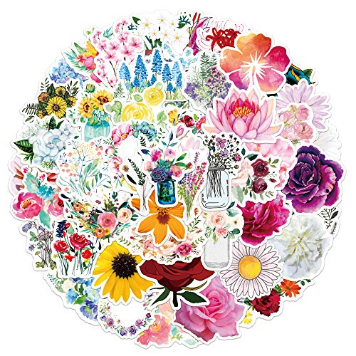 XXCKA 50 Flores en Flor Pegatinas de Graffiti Equipaje Maleta Maleta portátil Scooter decoración Pegatinas