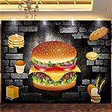 Papel tapiz fotográfico personalizado 3D estereoscópico hamburguesa cartel decoración Mural 3D pan cafetería herramientas fondo