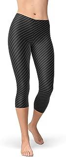 Carbon Fiber Capri Leggings Womens Medium Rise Waist Mid Calf Length Black Pants