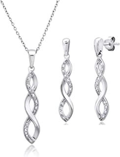 """Genuine Diamond Infinity Pendant Necklace and Dangle Earring Boxed Gift Set in Sterling Silver, 18"""""""
