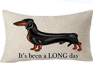 It's Been A Long Day Cute Family Animal Pet Dog Dachshund - Funda de cojín con estampado de huellas de perro salchicha, funda de cojín de algodón y lino, material decorativo lumbar de 30,5 x 50,8 cm