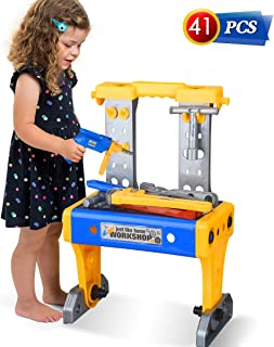 Kids Tool Set Power Tool Workshop with Electric Drill Workbench Bench Boys Toys Tools Toddler Tool Set Pretend Play Garden Toy Construction STEM Educational Tool Gifts for Kids Toddlers Girls Age 3-7