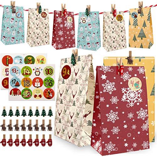 Huker 24 Calendario Dell Avvento da Riempire, Sacchetti Regalo di Natale con Adesivi Numerici, Fai da Te Borsa Calendario Avvento Natalizio, Borsa Natalizia in Kraft per Decorazioni Natalizia