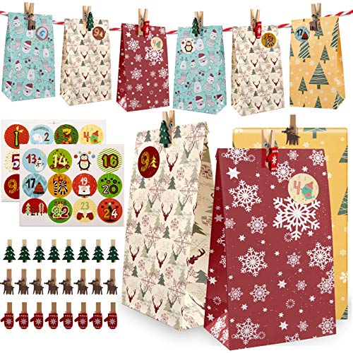 Huker 24 Adventskalender zum Befüllen, Weihnachtskalender Selber Basteln für Kinder, Adventskalender Tüten mit 1-24 Adventszahlen, Weihnachten Geschenksäckchen, Geschenktüten Papier, Kraftpapiertüten