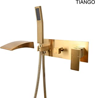 TINAGO Wall Mounted Bathtub Faucet with Tub Waterfall Wide Spout Filler and Handheld Shower Head (Brushed Brass Gold)