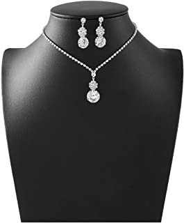 Barode Bridal Wedding Necklace Earrings Set Silver Sparkly Rhinestones TearDrop Pendant Necklaces Bride Crystal Accessories Jewelry for Women and Girls
