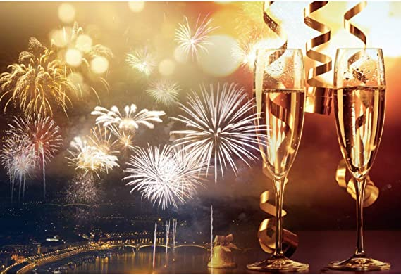 DaShan 6x4ft Polyester Champagne Glasses 2021 Happy New Year Backdrop Xmas Christmas New Year Eve Party Photography Background Bottle Wine Home Christmas Family Winter Festival YouTube Photo Props