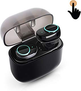 Wireless Earbuds,Jialebi Touch Control Bluetooth Headset Noise Cancelling Headphones 15H Sweatproof Stereo in-Ear Earphone Earpiece Portable Charging Box Built-in Mic