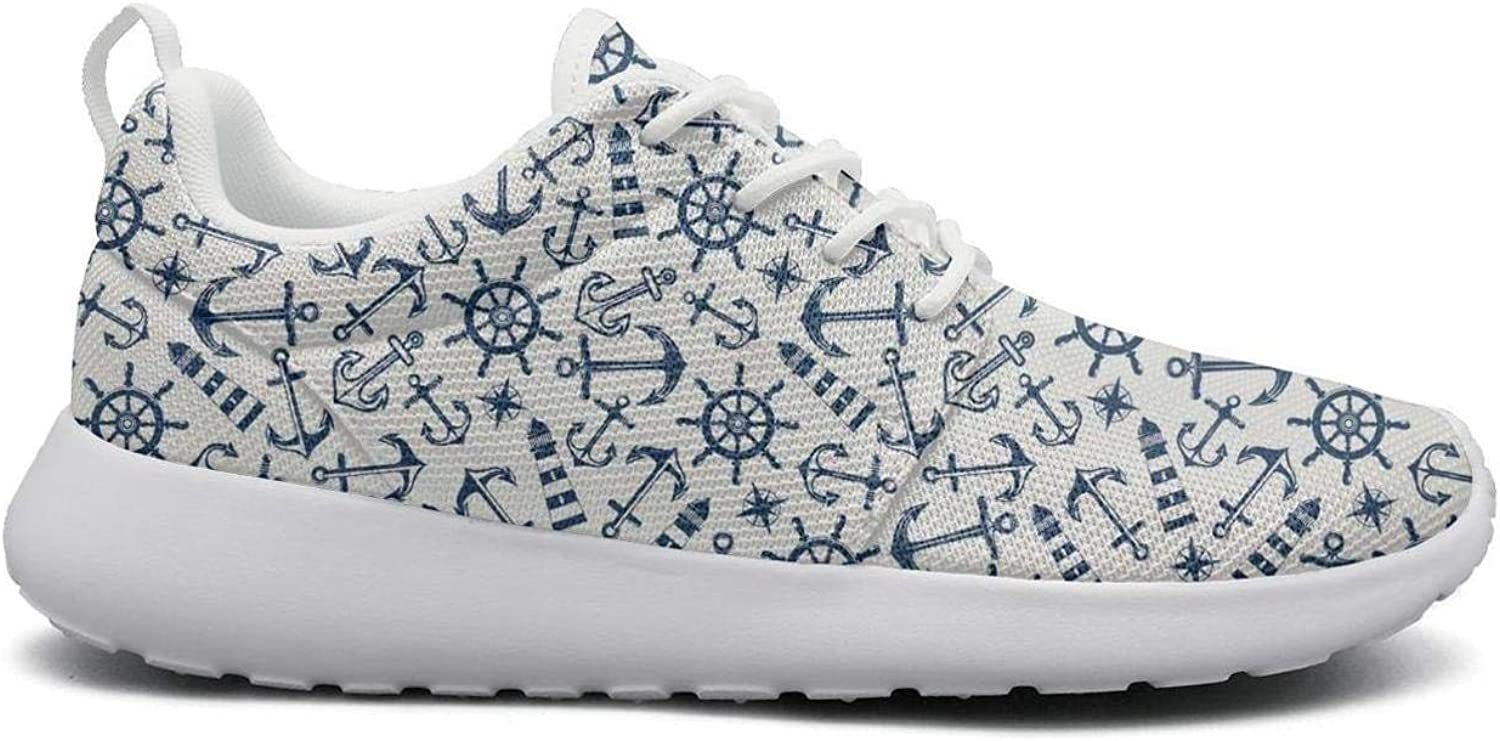 Gjsonmv Small Anchor Lighthouse Print mesh Lightweight shoes for Women Fashion Sports Workout Sneakers shoes