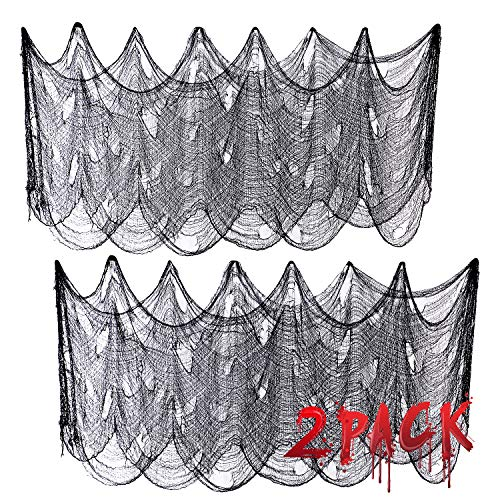 Joyjoz 2Stk Halloween Deko 7.5M*1M Black Creepy Cloth, Halloween Dekoration Stoff Gruselig Tuch Party Deko für Windows Tisch Türen Deko Halloween Party Prop