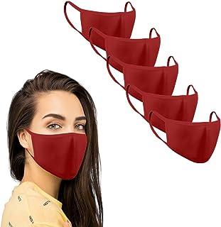 KUNSTIFY Stofmasker, gekleurde mond-neusbescherming, 5 stuks, wasbaar, herbruikbaar, zwart, katoen, voor dames en heren, b...