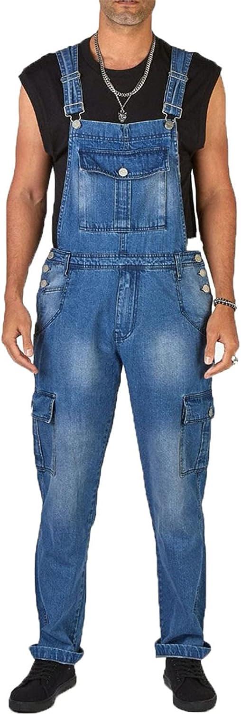 Men's Denim Overalls Slim Fit Work Casual Jumpsuit with Multiple Pockets