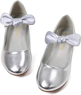 Flower Girl Shoes Flat with Bow Detachable Mary Jane Dress Shoe Ballet Shoes Princess Round-Toe for Dance,School,Uniform/Toddler,Little Kid