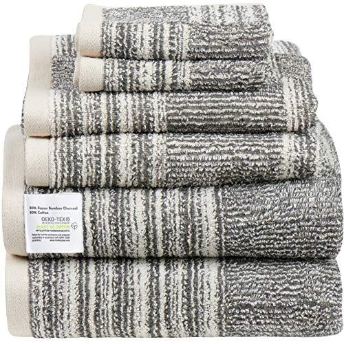 JOMO Oeko-tex Bath Towels 6-Pack - Bath Towel Set, 2 Plush Bath Towels, 2 Hand Towels, and 2 Washcloths, 500 GSM Bamboo & Cotton Towels Bath, Absorbent & Soft Bathroom Towels, Shower Towels Easy Care