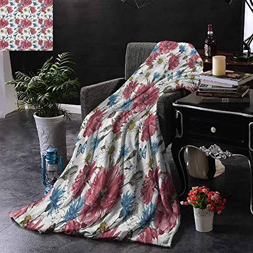 ZSUO Kinderdeken Vogels op takken met bloemen en bladeren scènes van de natuur kersenboom afbeelding voor bed & bank bank gemakkelijk zorg