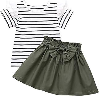 Conjunto de ropa para niñas de 0 a 10 años de edad, de manga corta, de rayas, con volantes florales y falda de lazo, juego...