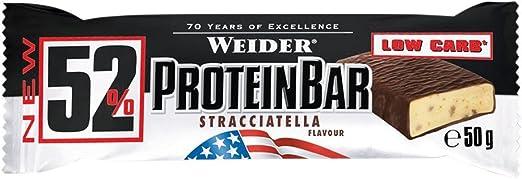 Weider 52% Barritas de Proteínas Stracciatella - 50 gr. Barrita con 52% de proteína. Baja cantidad de azúcares.