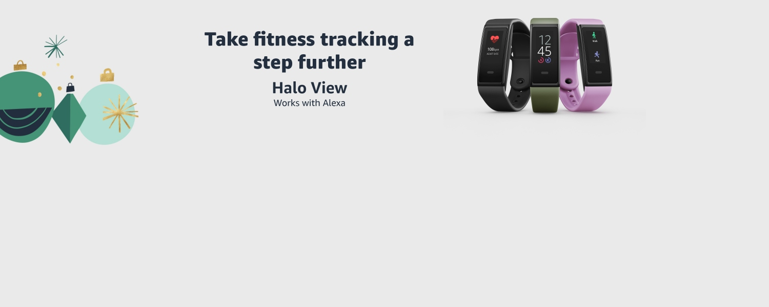 Halo View fitness tracker in 3 colors. Text: Take fitness tracking a step further. Halo View.