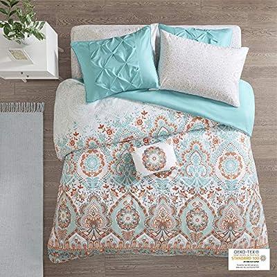 Intelligent Design Complete Bag Casual Boho Comforter with Sheet Decorative Pillow, All Season Bedding Set, Full, Vinnie Aqua 8 Piece