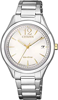 Citizen Women's Solar Powered Wrist watch, stainless steel Bracelet analog Display and Stainless Steel Strap, FE6124-85A