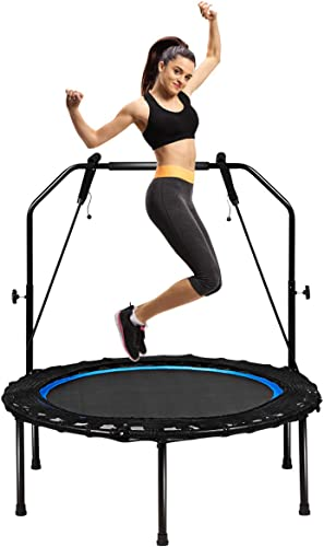 """new arrival Giantex 40"""" Foldable lowest Mini Trampoline, Indoor Fitness Trampoline with wholesale 43''-51"""" Height Adjustable Handle, Resistance Bands, Rebounder Exercise Trampoline for Adults, Kids outlet sale"""