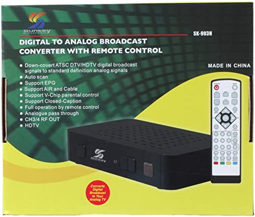 2021 Sunkey Sk-903h outlet sale Digital to Analog Broadcast Converter with discount Remote Control Hdmi and USB outlet sale