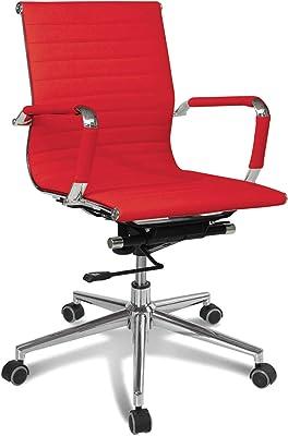 Sedia Direzionale da Ufficio in Ecopelle con Braccioli Modello Rem a Schienale Medio e Colore Rosso