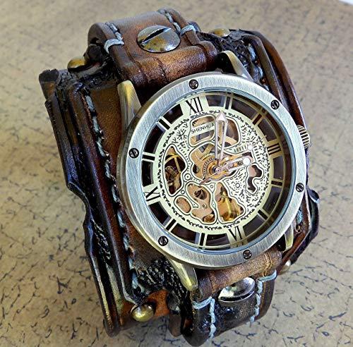 Burned looking leather watch, Steampunk wrist watch, Leather Watch Cuff, Vintage leather watch, Bracelet watch, Skeleton watch, Men's gift