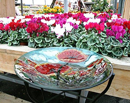 Hand-Painted Glass Birdbath Garden Bird Bath Poppy Pattern UV Weather-Resistant