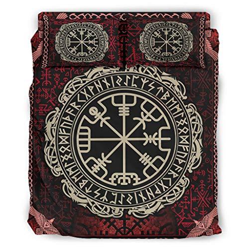 Juego de ropa de cama de 4 piezas, diseño vikingo, Vegvisir Dragón y runas escandinavas, impresión supersuave, 4 piezas, funda nórdica y funda de almohada, falda de cama, color blanco 4 228 x 228 cm