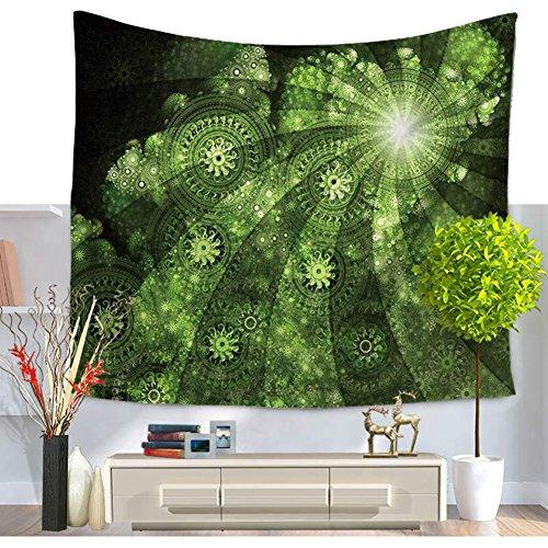 Frais Vert Mandala Impression Tapisserie Fleurs Vert gewu ndene Mandala Fleur avec Heller tapisseries indienne Mandala Wall Decor Hippie Tapisserie Décoration murale Art de Bohême Plage jeter, Mehrfarbig, 59*79in