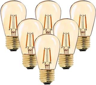 Century Light - Bombilla LED de filamento vintage, ST45, 1 W, sustituye a bombillas incandescentes de 10 W, luz blanca cálida de 2200K AC 230V E27 base media, cristal dorado, no regulable,6-unidades