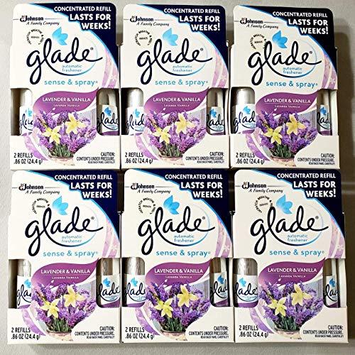 12 Glade Sense & Spray Automatic Freshener Refill Lavender & Vanilla (6 Twin Pack)