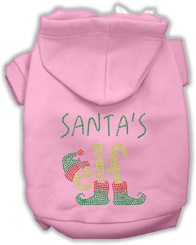 Mirage Pet Product Santa's Elf Rhinestone Light Pink Courier shipping free Dog Hoodie Super sale period limited