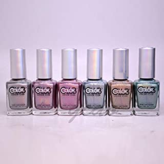 Color Club Hues 6pcs Collection Cloud Nine Angles Kiss Harp on It Holographic