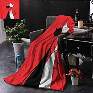 EDZEL Lightweight Blanket Cat Bride and Groom Silhouettes Sofa Chair 60x40 Inch