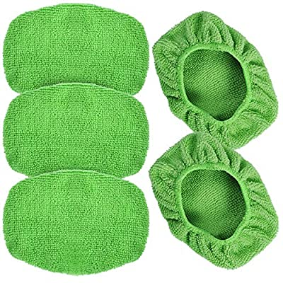 """eFuncar Car Care Microfiber Cloths for Windshield Cleaning Tool, Windshield Cleanner Wand Replaceable Glass Cleaning Bonnets, Interior Auto Window Cleaner Washing Pads, Fit 5"""", Green, 5 Pack"""
