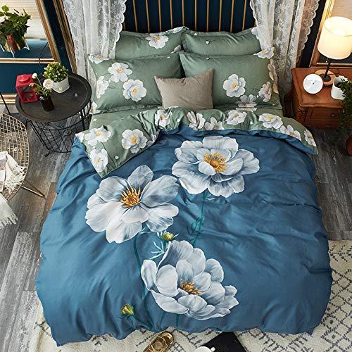SLAYY Conjunto de Hojas de PC de Estilo Chino 4, sábanas de bambú, Bolsillos Profundos, sábanas sin Arrugas ecológicas, Colcha Lavable a máquina